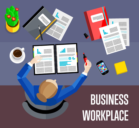 overhead: Top view business workplace, vector illustration. Overhead view of businesswoman working with financial documents at office desk. Business people background. Workspace banner in flat style.