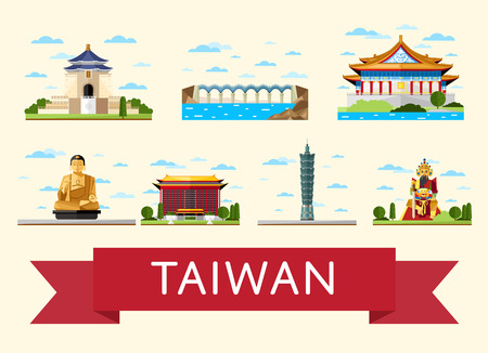 Taiwan travel set of famous asian attractions on white background, vector illustration. Time to travel concept. Asian architecture in flat design. Worldwide traveling. China landmarks collection Vettoriali