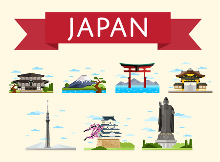 Japan travel set of famous asian attractions on white background, vector illustration. Torii gate, fujiyama, television tower and ancient temples. Asian architecture. Japan landmarks collection Vettoriali