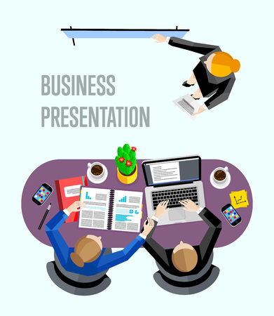 view from above: Top view business presentation banner, vector illustration. Businesswoman making presentation near whiteboard in office. Business seminar or training. Board meeting in office.