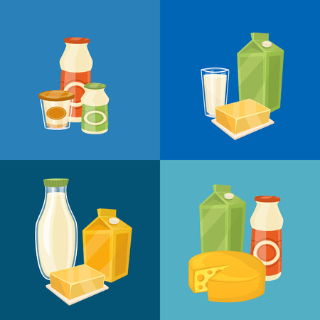 assortment: Assortment of different dairy products, isolated square composition on blue background, vector illustration. Nutritious and natural tasty food. Organic farmers products concept. Dairy icons. Illustration