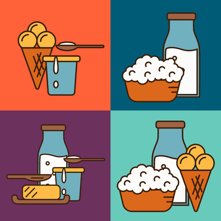 assortment: Assortment of different dairy products, isolated square composition on color background, vector illustration in line style design. Nutritious and natural healthy food. Organic farmers products.