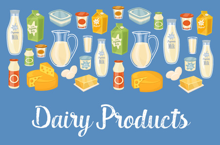 assortment: Dairy products banner with dairy assortment icons on blue background, vector illustration. Healthy nutritious concept with butter, eggs, milk, cream, yoghurt, cheese, kefir. Organic farming.
