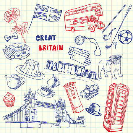 checked flag: Great Britain associated symbols. English national, cultural, culinary, sportive, historical, architectural, animal, fashion related doodles drawn on squared paper vector set. Sketched with pen icons Illustration