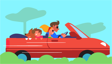 Family car traveling. Young couple riding cabriolet car with son and dog vector illustration. Road trip adventure concept. Joy of car ownership. For travel, car rental company, automobile salon ad