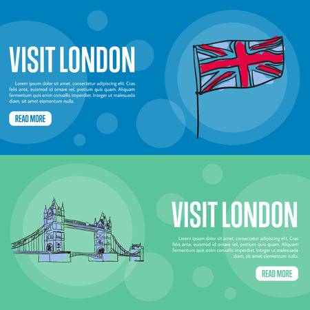 english famous: Visit London touristic banners. Union Jack flag and Tower bridge hand drawn vector illustrations on colored backgrounds. English famous national symbols. For travel company landing page design Illustration
