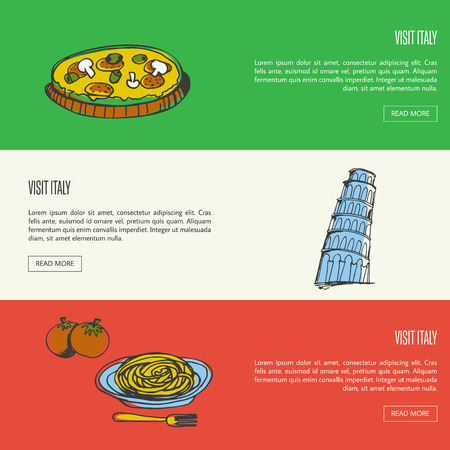 culinary tourism: Visit Italy banners. Pizza with mushrooms, Pisa falling tower, pasta on plate with fork and tomatoes hand drawn vector illustrations on national colors backgrounds. For travel company web page design