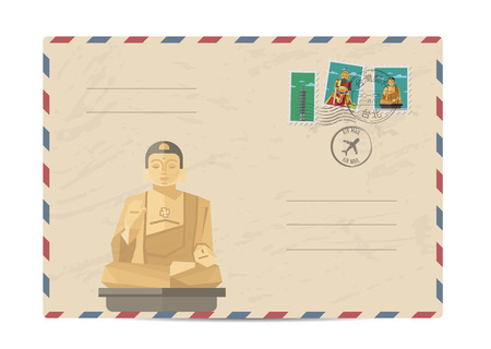 postmarks: Taiwan vintage postal envelope with postage stamps and postmarks on white background, isolated vector illustration. Taiwanese buddha statue. Air mail stamp. Postal services. Envelope delivery. Illustration