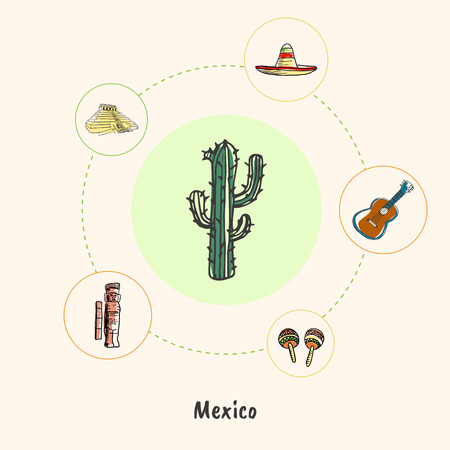 mayas: Attractive Mexico. Cactus colored doodle surrounded guitar, sombrero, pyramid, mayas monument, maracas hand drawn vector icons. Mexican cultural, culinary, nature symbols. Travel in Latin America