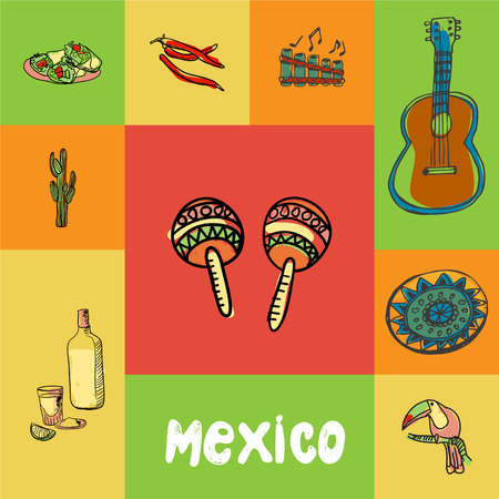 culinary tourism: Mexico checkered concept in national colors. Maracas, guitar, folk flute, chilli pepper, burritos, cactus, tequila, toucan, ornament hand drawn vector icons. Country related doodle symbols and text Illustration