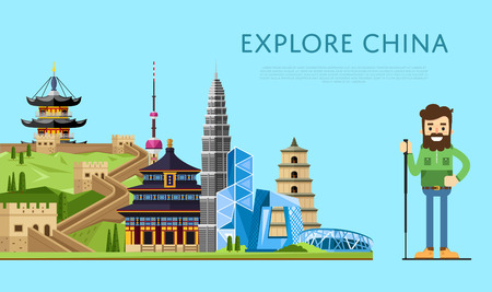 asian lifestyle: Explore China banner with smiling tourist on background of famous traditional and modern asian buildings. Man traveler hiking. Asian architecture in flat design. Travel lifestyle. China landmarks Illustration