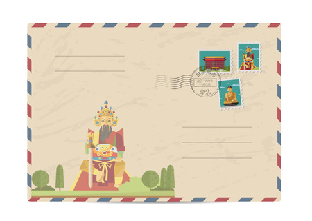 Taiwan vintage postal envelope with postage stamps and postmarks on white background, isolated vector illustration. Taiwanese ancient god statue. Air mail stamp. Postal services. Envelope delivery.
