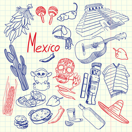 mayas: Mexico associated symbols. Mexican national, cultural, culinary, nature, historical, fashion related doodles drawn on squared paper blue and red pan vector set. Sketched with pen latin theme icons Illustration