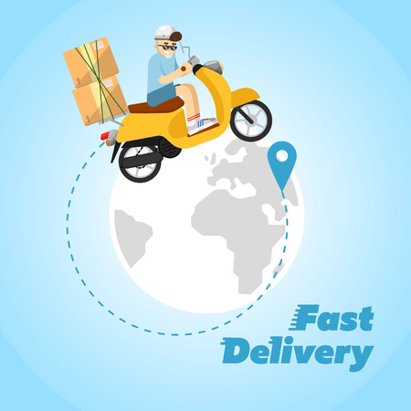 Delivery boy riding yellow scooter with cardboard boxes on background of globe. Fast delivery banner, vector illustration. Motorcycle courier service. Worldwide shipping and moving concept. Illustration
