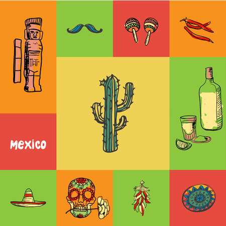 Mexico checkered concept in national colors. Cactus, tequila, chilli pepper, maracas, mustache, monument, sombrero, skull, ornament hand drawn vector icons. Country related doodle symbols and text