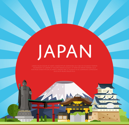 torii: Japan travel poster with torii gate, fujiyama, buddha statue and ancient temples, vector illustration. Famous attractions on background of red sun circle. Worldwide traveling. Japanese culture