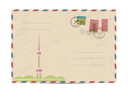 chinese postage stamp: China vintage postal envelope with postage stamps and postmarks on white background, isolated vector illustration. Chinese television tower. Air mail stamp. Postal services. Envelope delivery.