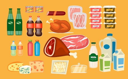 Daily food products icons. Beverage, sausage, poultry, bacon, yogurt, juice, meat, milk, sliced cheese, butter vector illustrations set. For diet and healthy nutrition concept, grocery store ad design
