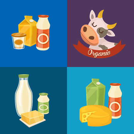 assortment: Assortment of different dairy products, isolated square composition on color background, vector illustration. Organic  with cartoon cow. Nutritious and natural healthy food. Dairy icons. Illustration