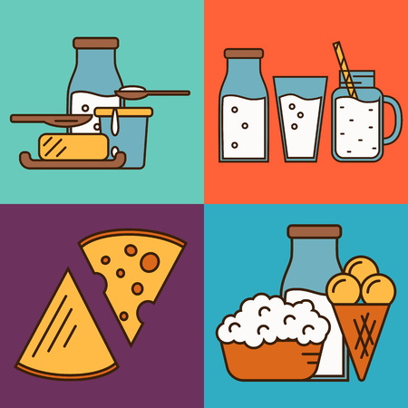 Assortment of different dairy products, isolated square composition on color background, vector illustration in line style design. Nutritious and natural healthy food. Organic farmers products.