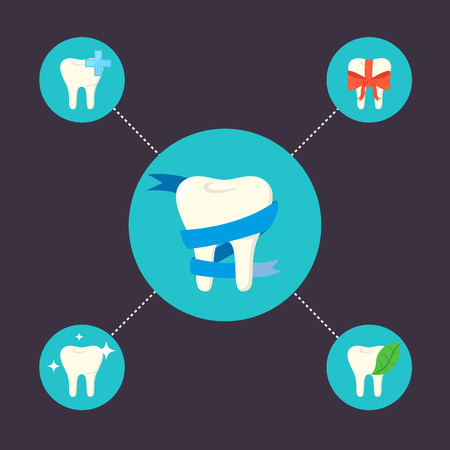 oral health care: Oral health care and dental hygiene icons with teeth symbol. Dentistry vector illustration. Tooth care and restoration, stomatology and orthodontics. Conceptual icons of dental clinic services. Illustration