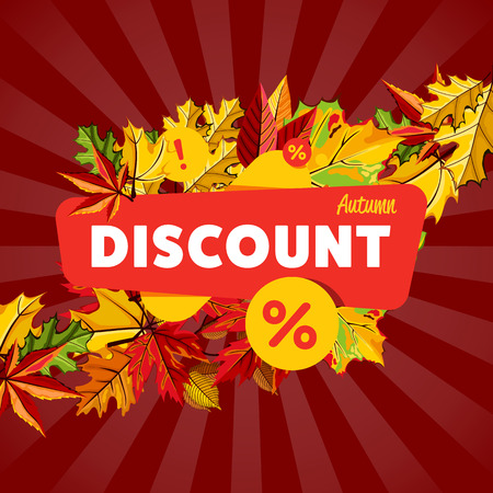 incredible: Autumn seasonal sale design template, vector illustration. Autumn discount banner with colorful leaves on striped red background. Advertisement about autumnal discount. Incredible sale proposition