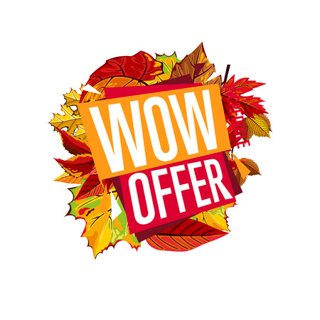 proposition: Autumn sale design template, vector illustration. Wow offer, incredible sale proposition banner with colorful leaves on white background. Advertisement about autumnal discount. Poster design for shop