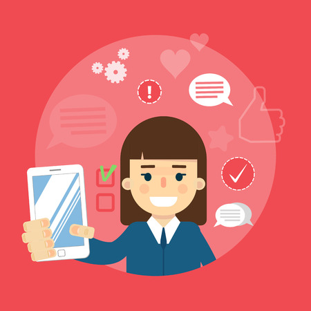 communication cartoon: Smiling cartoon girl holding smartphone on red background with communication icons, vector illustration. Social media concept. Connecting people, social networking, virtual communication