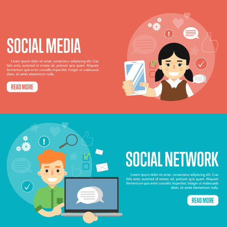girl laptop: Smiling girl holding smartphone. Cartoon boy holding laptop with speech bubbles on screen. Social media network banners, vector illustration. Connecting people, social networking. Media sharing