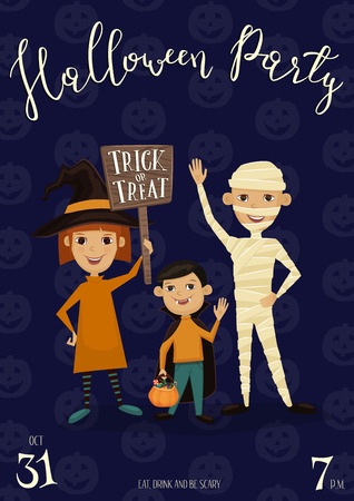 halloween party banner with funny kids in carnival costumes mummy vampire and witch with sign