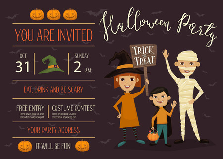 Halloween night party invitation with place for text. Funny kids in carnival costumes mummy, vampire and witch with sign - Trick or Treat. Halloween creative design template, vector illustration.