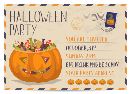 postmarks: Halloween party vintage postcard invitation with scary pumpkin head jack full of sweet candies. Halloween postal card with postage stamp and postmarks, creative design template, vector illustration