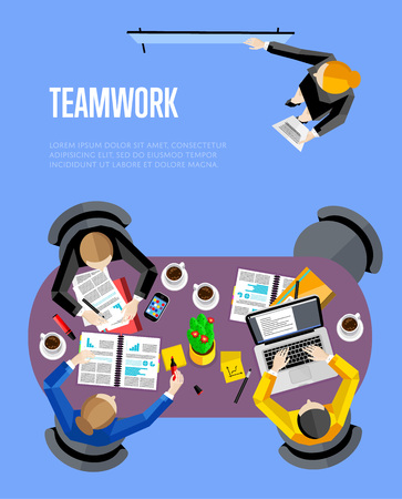 board meeting: Top view teamwork business banner, vector illustration. Businesswoman making presentation near whiteboard on blue background. Board meeting in office. Collaboration and partnership concept