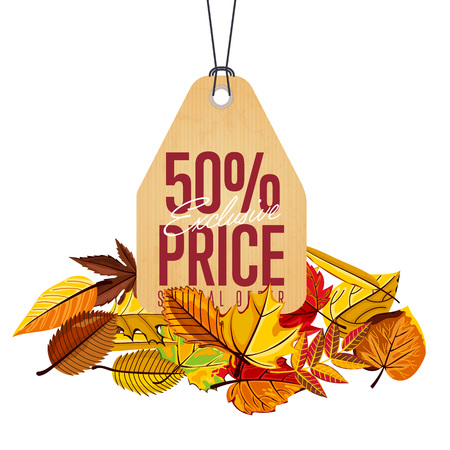 best ad: Autumn seasonal sale badge, vector illustration. Exclusive price, special offer label in vintage style on white background with colorful autumn leaves. Retro design promotional badge Illustration