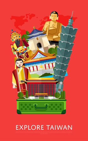 Explore Taiwan banner with famous traditional and modern asian buildings in open suitcase, vector illustration. Time to travel concept. Road trip. Taiwan landmarks. Asian architecture in flat design.