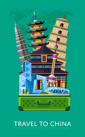 open road: Travel to China banner with famous traditional and modern asian buildings in open suitcase, vector illustration. Time to travel concept. Road trip. China landmarks. Asian architecture in flat design.