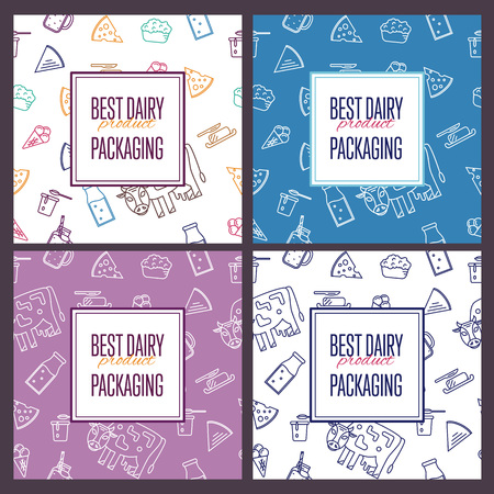 Best dairy product seamless patterns for packaging with different dairy icons in line style design, vector illustration. Organic farming background. Nutritious and healthy milk products. Natural food.