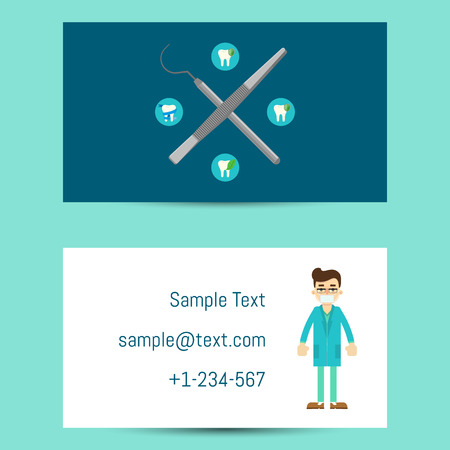 Professional business card template for dentists with cartoon professional business card template for dentists with cartoon man in medical uniform and dentist equipment wajeb Gallery