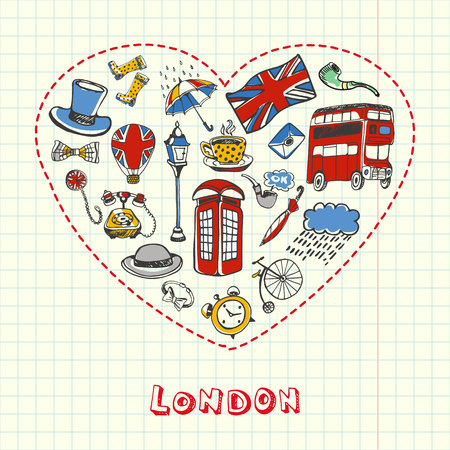 five o'clock: Love London. Dotted heart filled with colored doodles associated with english capital drawn on squared paper vector illustration. Memories about Europe journey. Sketched with pen British related icons