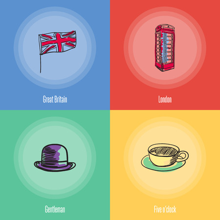 o'clock: British cultural, political, architectural symbols. Union Jack flag, phone box, cup of tea, bowler hat doodle vector icons with caption on colored backgrounds. Country concept for travel company ad Illustration