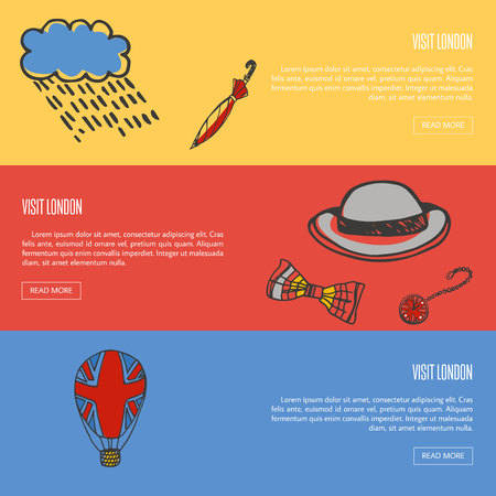 Visit London banners. Rain cloud and umbrella, bowler hat, bow tie, pocket watch, balloon with british flag hand drawn vector illustrations on colored backgrounds. For travel company web page design Illustration