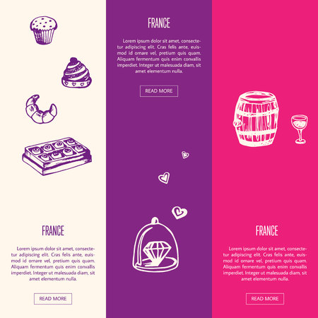 jewelery: France romantic touristic banners. Bakery and chocolate, beautiful jewelery, barrel of wine with glass hand drawn with vector illustrations on colored backgrounds. For travel company web page design
