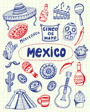 Mexico associated symbols. Mexican national, cultural, culinary, nature, historical, fashion related doodles drawn on squared paper blue and red pan vector set. Sketched with pen latin theme icons  イラスト・ベクター素材
