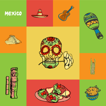 cuisine entertainment: Mexico checkered concept in national colors. Decorated human skull, cactus, corn, maracas, guitar, sombrero, pyramid, mayas monument hand drawn vector icons. Country related doodle symbols and text