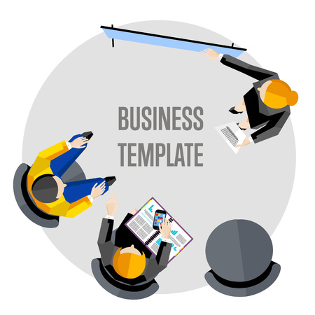 board meeting: Business template vector illustration. Top view workspace background . Businesswoman making presentation near whiteboard on white background. Business seminar or training. Board meeting in office.