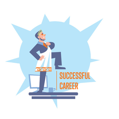 career development: Successful career banner with businessman in roman toga and laurel wreath standing on table, isolated vector illustration on white background. Career development poster template. Big boss character
