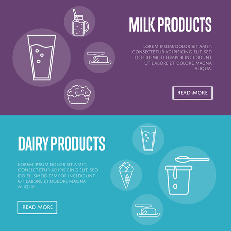 Dairy horizontal templates with different dairy icons in line style design, vector illustrations with space for text. Nutritious and healthy products. Organic farming. Natural and healthy food.