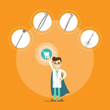 Male cartoon dentist in medical uniform and superhero blue cape holding big tooth on orange background with instrument icons, vector illustration. Dental office banner. Oral hygiene, tooth health
