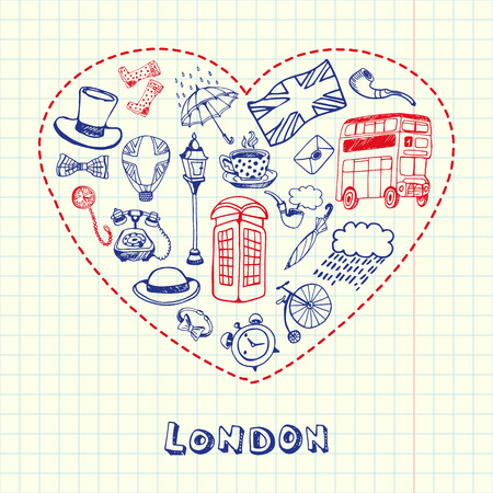 five o'clock: Love London. Dotted heart filled with doodles associated with english capital drawn on squared paper vector illustration. Memories about Europe journey. Sketched with pen British related icons Illustration