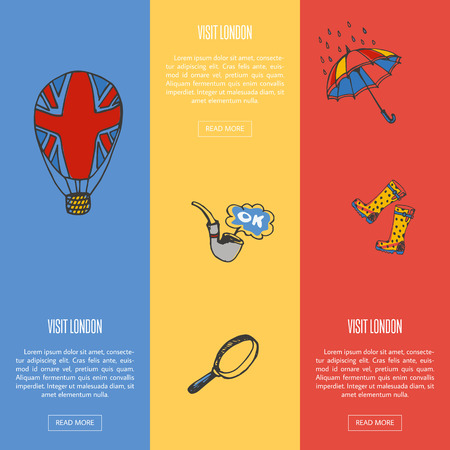 gumboots: Visit London banners. Balloon with union jack flag, smoking tube, magnifier glass, umbrella in rain, gumboots hand drawn vector illustrations on colored backgrounds. For travel company web page design